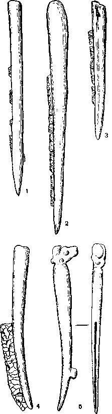 Мезолитические костяные орудия с кремневыми вкладышами 1—Дания; 2—4— Прибайкалье; 5 — Вади эн-Натуф, Палестина