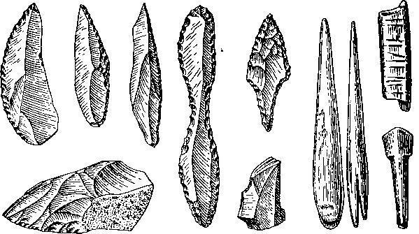 Ориньякские орудия из Франции (по Брейлю)