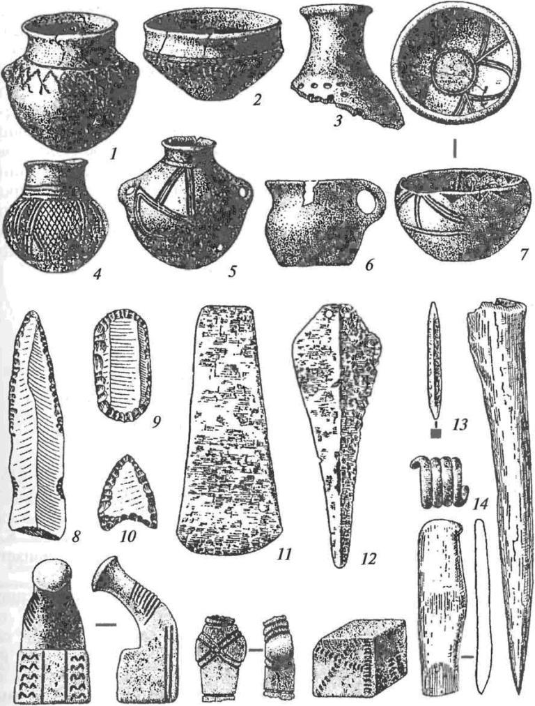 Находки из поселений и могильников усатовской культуры: 1-7 — сосуды; 8 — нож; 9 — скребок; 10 — наконечник стрелы; 11 — топор-тесло; 12 — кинжал; 13— шило; 14— височное кольцо; 15-17— глиняная скульптура; 18, 19— костяные орудия (8-10 — кремень, 11-14 — металл)