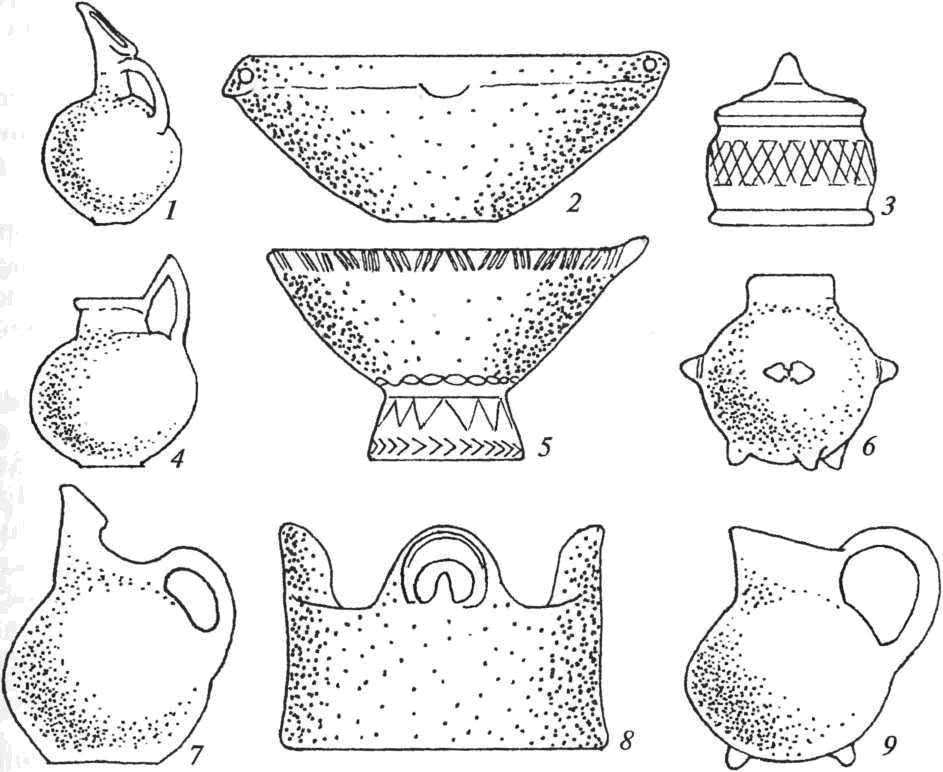 Керамика культуры Трои I: 1, 4, 6, 7, 9 — кувшины; 2 — миска; 3, 8 — крышки; 5 — ваза