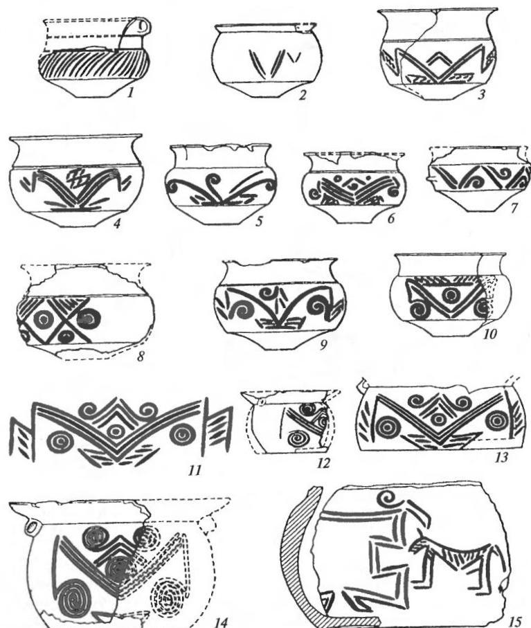 Керамика куро-аракской культуры из Шенгавита (1, 15) и эчмиадзинских поселений Армении (2-14)