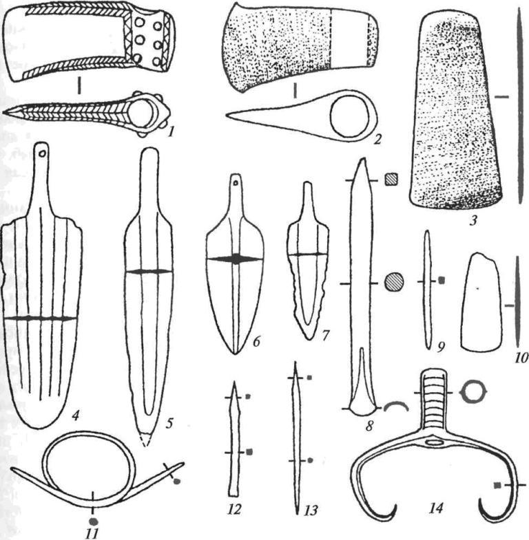Основные типы бронзовых орудий и оружия майкопского очага металлургии: 1, 2 — втульчатые топоры; 3, 10 — тесла; 4-7 — кинжалы; 8, 12 — долота; 9, 13 — шилья; 11 — псалий; 14 — втульчатая вилка