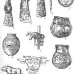 Инвентарь большого Майкопского кургана: 1 — топор-тесло; 2 — мотыга; 3 — тесло-долото; 4 — пробойник; 5 — котел; 6 — глиняный сосуд; 7 — опора балдахина с фигуркой быка (серебро, золото)', 8, 9 — серебряные сосуды; 10, 11 — золотые бляшки; 12 — развертка изображения на поверхности сосуда № 8 (1-5— металл