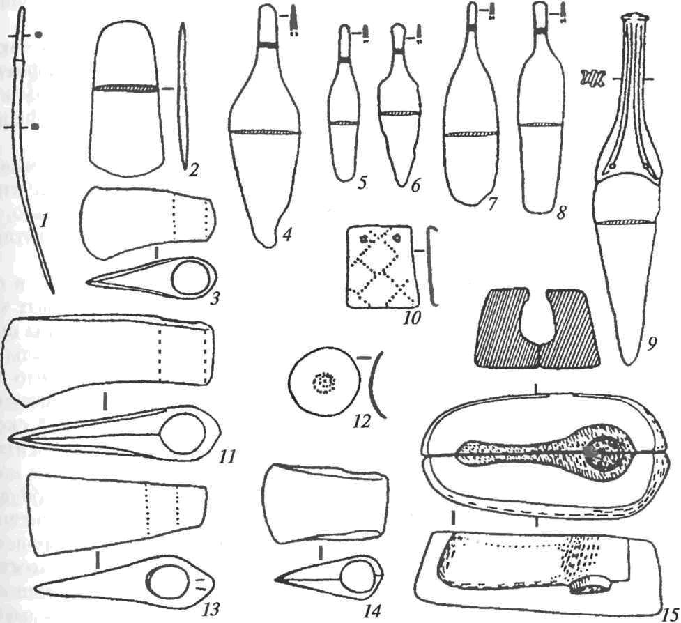 Продукция приднепровского металлообрабатывающего очага: 1 — шило; 2 — тесло; 3, 11, 13, 14— втульчатые топоры; 4-6, 9 — ножи-кинжалы; 7, 8 — ножи-бритвы; 10 — обоймица; 12 — накладка; 15 — форма для отливки топоров