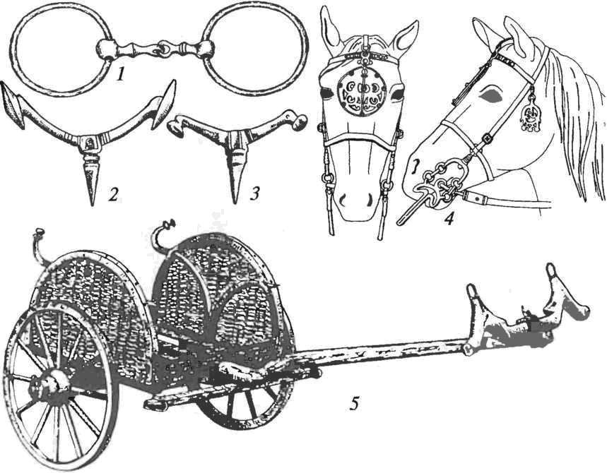 Латенская культура. Конское снаряжение и колесница: 1 — бронзовые удила с кольцами для крепления ремней оголовья; 2, 3 — бронзовые шпоры; 4 — конская узда (реконструкция); 5 — реконструкция повозки из погребения (Великобритания)