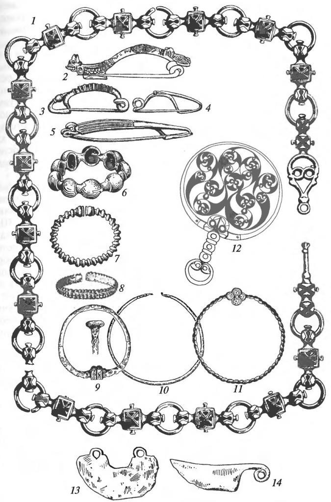 Латенская культура. Украшения и предметы туалета: 1 — бронзовая цепь с эмалевыми вставками; 2-4 — бронзовые фибулы; 5 — золотая фибула; 6-8 — бронзовые браслеты; 9-11 — гривны (торквесы) из бронзы и золота; 12— зеркало бронзовое с гравированным орнаментом на обороте; 13, 14— железные бритвы