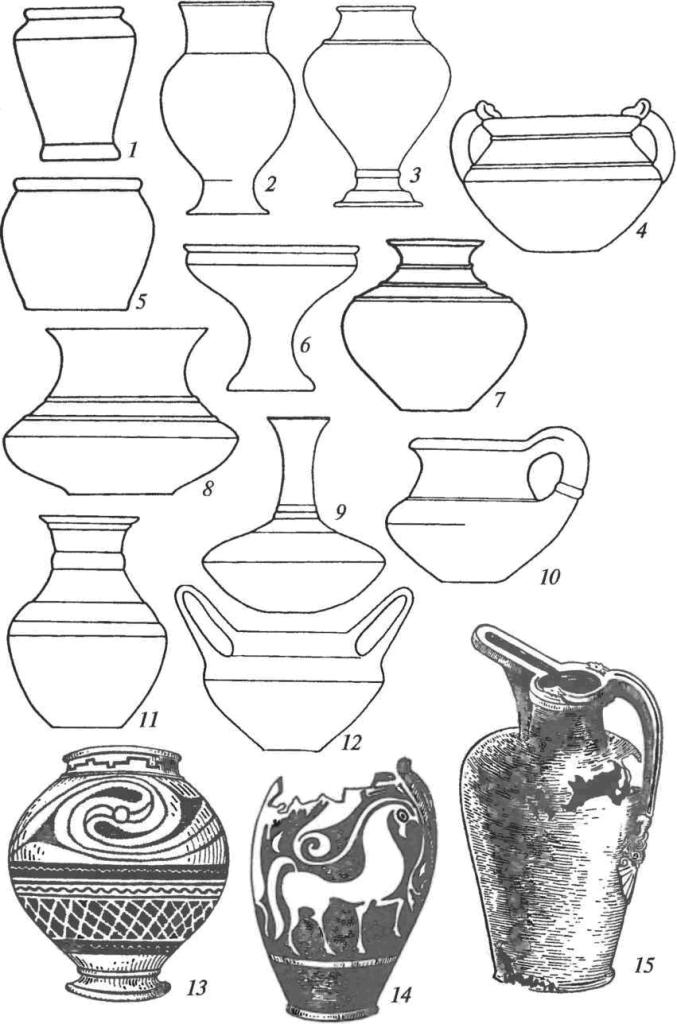 Латенская культура. Сосуды: 1-12— основные формы латенских керамических сосудов; 13, 14— керамические сосуды с геометрическим и зооморфным орнаментом; 15 — бронзовый «клювовидный» сосуд