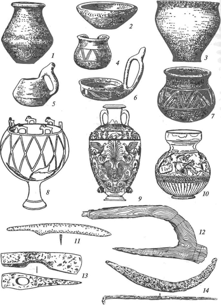 Сосуды и орудия труда скифской культуры и культур скифского облика: 1-7 — керамические сосуды; 8 — бронзовый котел с зооморфными ручками; 9 — серебряная позо¬лоченная столовая амфора из кургана Чертомлык; 10 — электровый сосуд из кургана Куль-Оба; 11 — железный нож; 12 — деревянный плуг; 13 — железный топор; 14 — железный серп