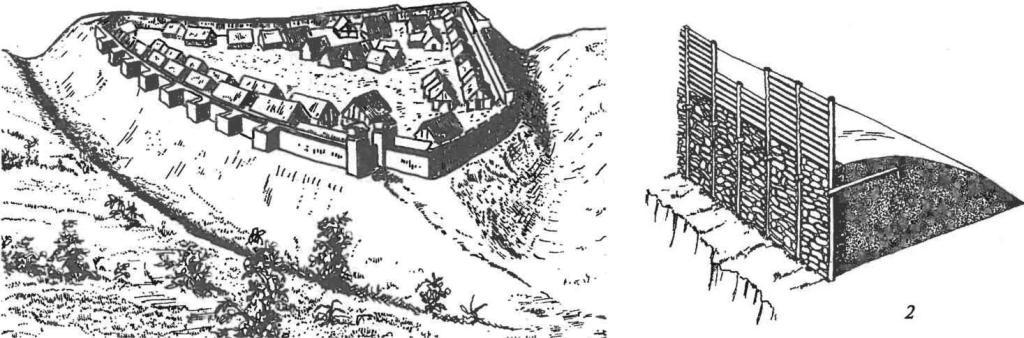 Гальштатская культура. Поселения (реконструкция): 1 — городище Гейнебург; 2 — гальштатская оборонительная стена в разрезе