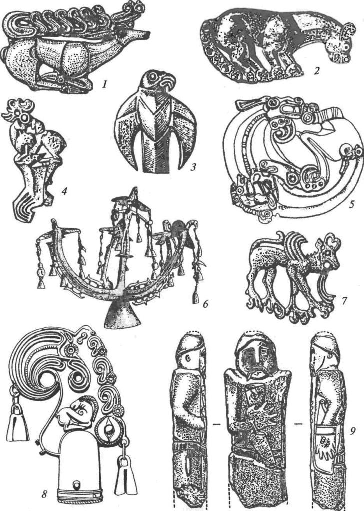 Скифское искусство: 1,2— золотые бляхи щита или горита в виде оленя и кошачьего хищника; 3 — золотая бляха пояса в виде птицы; 4, 5 — бронзовые уздечные бляхи с изображениями лося и хищника, свернувшегося в кольцо; 6 — бронзовое навершие шеста с антропоморфным и зооморфными изображениями; 7 — бронзовая уздечная бляха в виде грифона; 8 — бронзовое навершие шеста в виде птичьей головы с дополнительными зооморфными образами; 9 — монументальная антропоморфная каменная скульптура