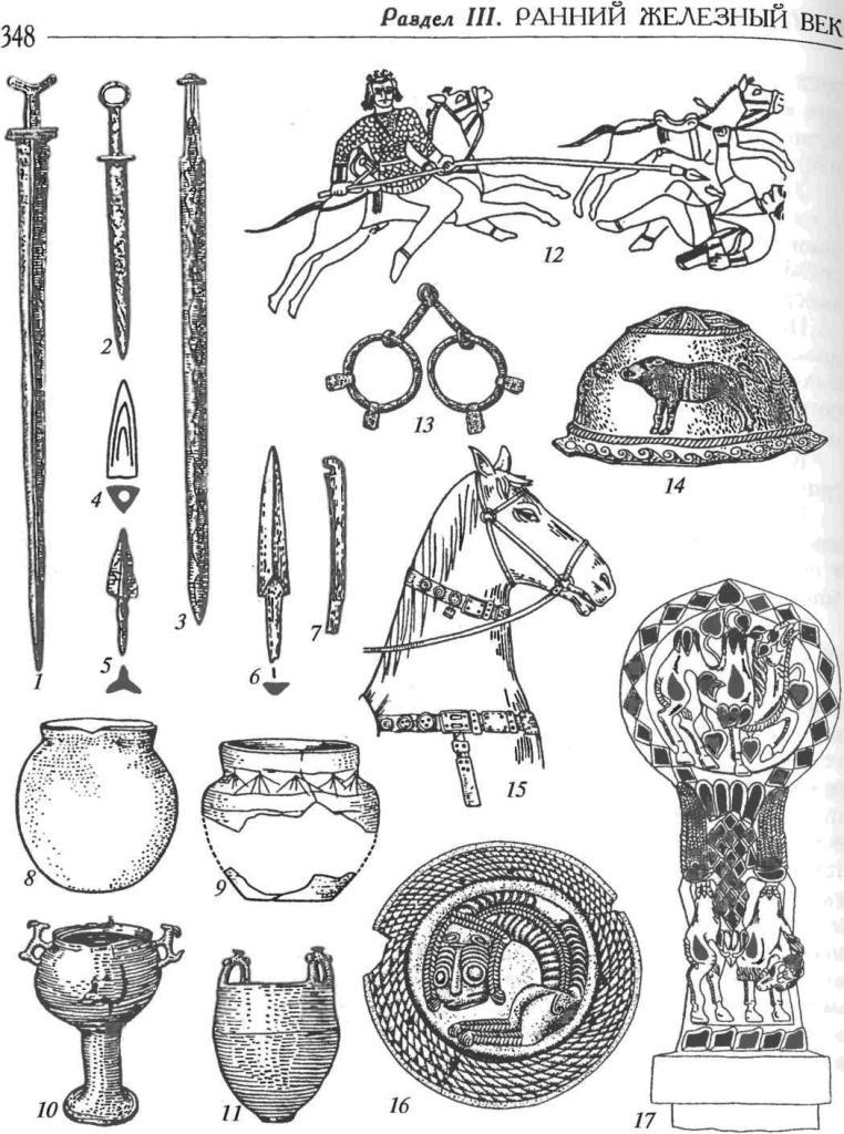 Сарматская культура. Вооружение, конское снаряжение, сосуды: 1-3 — железные мечи; 4 — бронзовый наконечник стрелы с втульчатым креплением; 5 — железный наконечник стрелы с черешковым креплением; 6 — костяной наконечник стрелы с черешковым креплением; 7 — костяная концевая накладка на лук; 8, 9 — керамические сосуды; 10, 11 — бронзовые котлы; 12 — изображение конного боя на серебряном кубке; 13 — железные удила с кольцами и зажимами для крепления оголовных ремней; 14, 16 — серебряные конские украшения (фалары) с зооморфными изображениями; 15 — реконструкция снаряжения коня; 17 — золотая обкладка рукояти железного кинжала с зооморфными изображениями (инкрустация бирюзой и сердоликом)