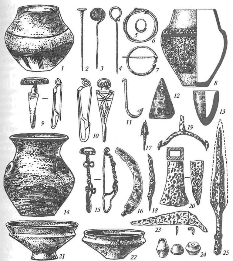 Зарубинецкая культура: 1, 8, 14, 21, 22 — керамические сосуды; 2-4 — бронзовые булавки; 5 — бронзовое височное кольцо; 6— бронзовый браслет; 7 — бронзовая пряжка; 9, 10, 15— бронзовые фибулы; 11— железный рыболовный крючок; 12 — глиняное грузило; 13 — керамический тигель; 16 — железный серп; 17 — железный черешковый наконечник стрелы; 18 — железный нож; 19 — железная шпора; 20 — железный топор-«кельт»; 23 — железная коса; 24 — керамические пряслица; 25 — железный наконечник копья