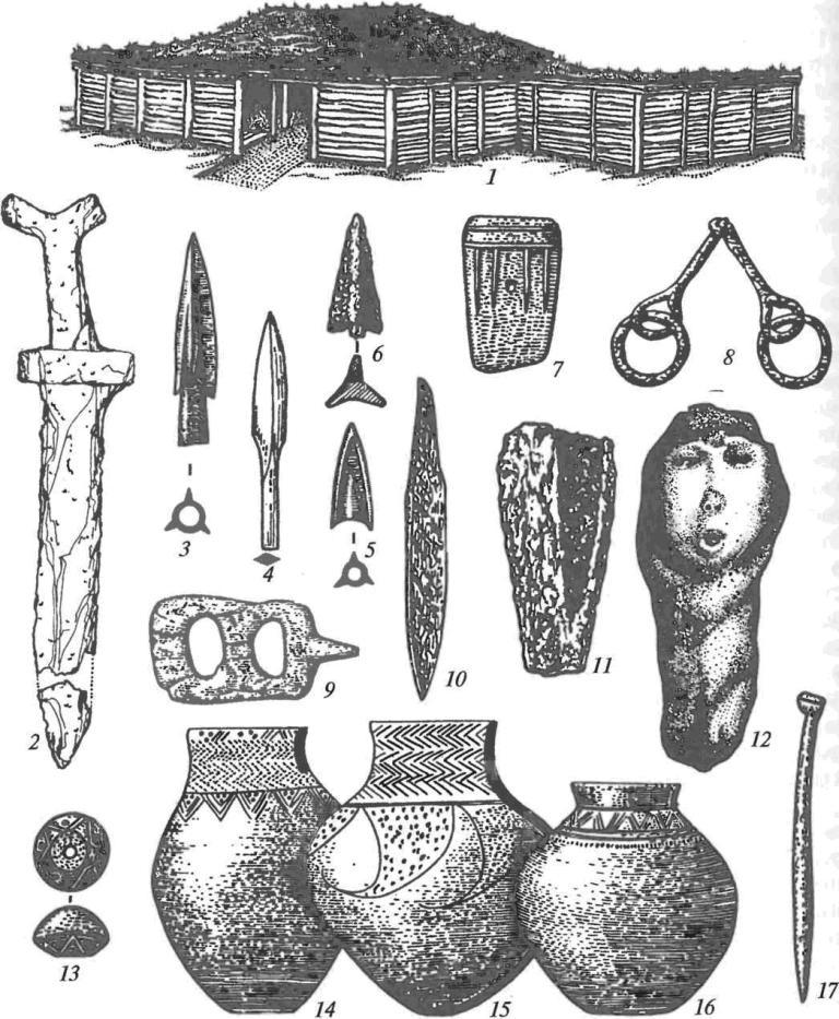 Саргатская культура: 1 — реконструкция двухкамерного жилища каркасно-столбовой конструкции; 2 — железный кинжал; 3, 5 — бронзовые втульчатые наконечники стрел; 4 — костяной черешковый наконечник стрелы; 6 — железный черешковый наконечник стрелы; 7 — бронзовый «кельт»; 8 — железные удила с кольцами; 9 — костяная пряжка; 10 — железный нож; 11 — железный кельт-мотыга; 12 — глиняная антропоморфная фигурка; 13 — глиняное пряслице; 14-16 — керамические сосуды; 17 — костяная проколка