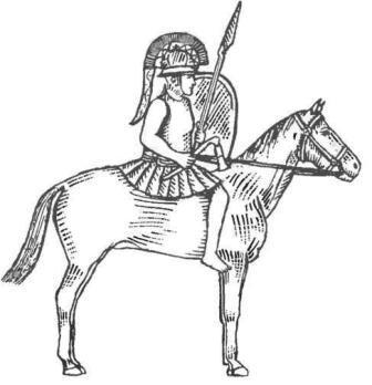 """Гальштатская культура. Конный воин с боевым топором-""""кельтом"""" и двумя копьями, в шлеме и со щитом (реконструкция)"""
