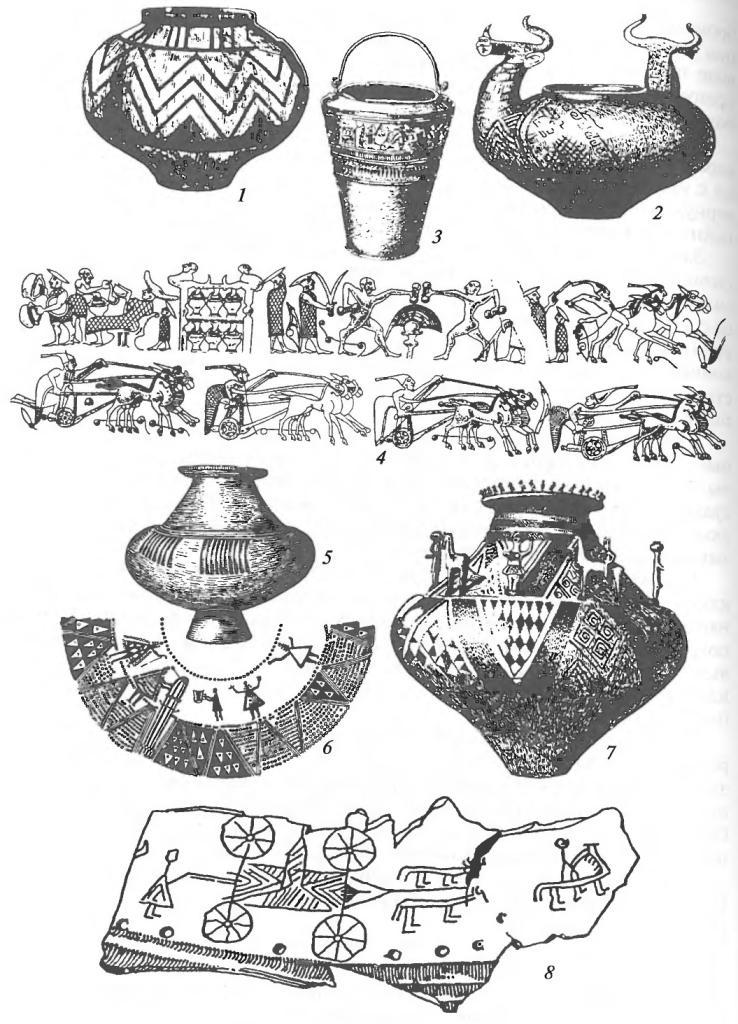Гальштатская культура. Сосуды: 1 — керамический сосуд с резным орнаментом; 2 — керамический сосуд с ручками в виде бычьих голов; 3,4 — бронзовая ситула из Куффарна (Австрия) и развертка изображений на ней; 5, 7 — керамические урны; 6, 8 — изображения на керамических урнах (Венгрия), прядущие и ткущие женщины, погребальная процессия