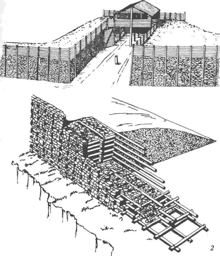 Латенская культура. Фортификация (реконструкция): 1 — фрагмент оборонительной стены и ворот городища Манхинг (Германия); 2 — латенская оборонительная («галльская») стена в разрезе