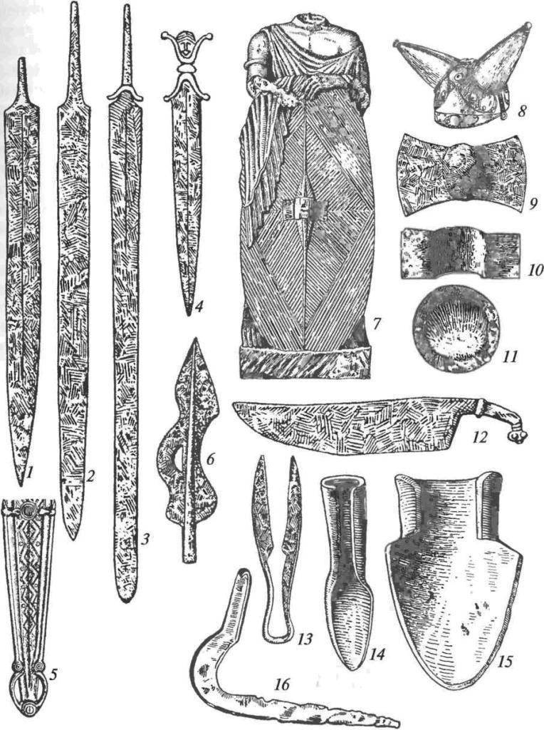 Латенская культура. Вооружение и орудия труда: 1-3 — железные мечи; 4 — железный кинжал с антропоморфным навершием; 5 — бронзовые орнаментированные ножны; 6 — железный наконечник копья; 7 — изображение кельтского воина со щитом (римская статуя); 8 — бронзовый шлем с эмалевыми инкрустациями; 9-11 — железные сердцевины щитов (умбоны); 12 — железный нож; 13 — пружинные железные ножницы; 14 — железный сошник; 15 — железный лемех; 16 — железная коса