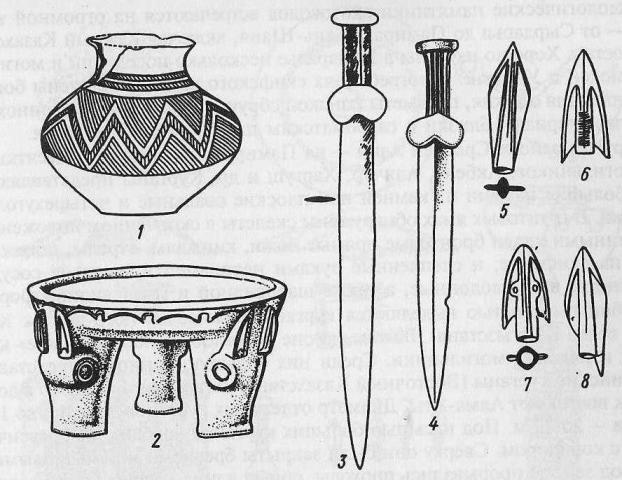 Савроматская культура: 1 - сосуд; 2 — каменный алтарь; 3, 4 — мечи; 5-8— наконечники стрел