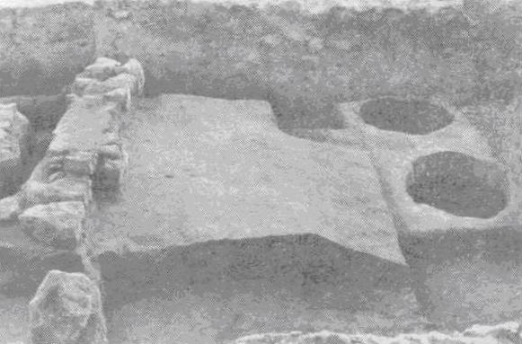 Рис. 62. Остатки скифского жилища и вычерпанные хозяйственные ямы. (По Б. Н. Гракову)