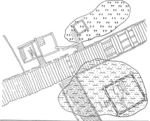 Рис. 64. Выявление стратиграфического яруса и его реконструкция. Сооружения связаны между собой непосредственно или общими прослойками