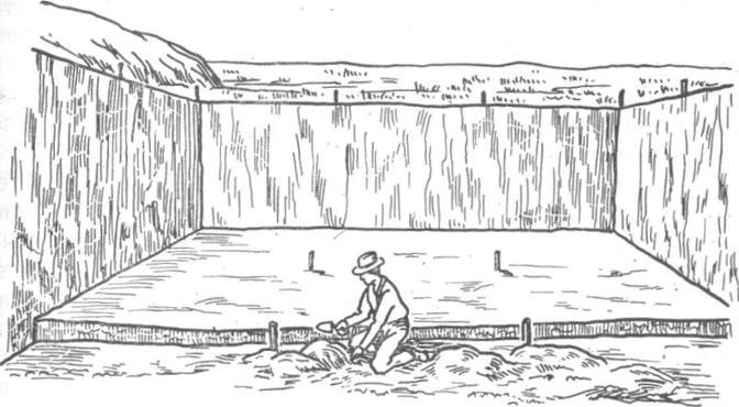 Рис. 69. Расчистка в одну линию вертикальными срезами