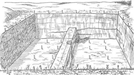Рис. 56. Бровка в большом раскопе по мере его углубления может разбираться