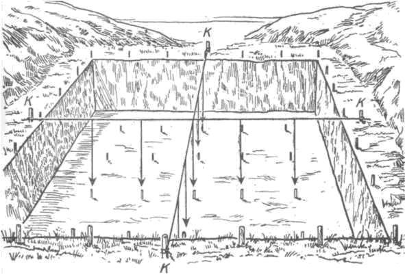 Рис. 57. Проверка правильности положения кольев на осевых линиях квадратной сетки