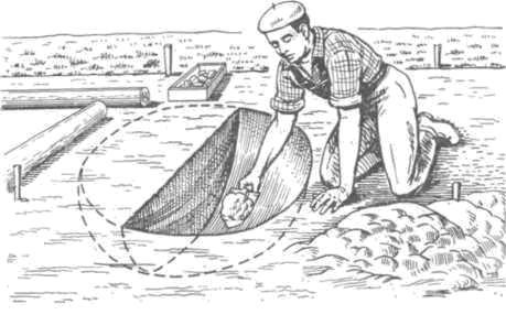 Рис. 60. Расчистка ямы производится по частям с профилировкой