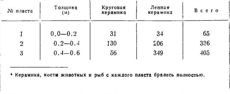 Фрагменты керамики, полученной из первых трех пластов (20 см каждый)