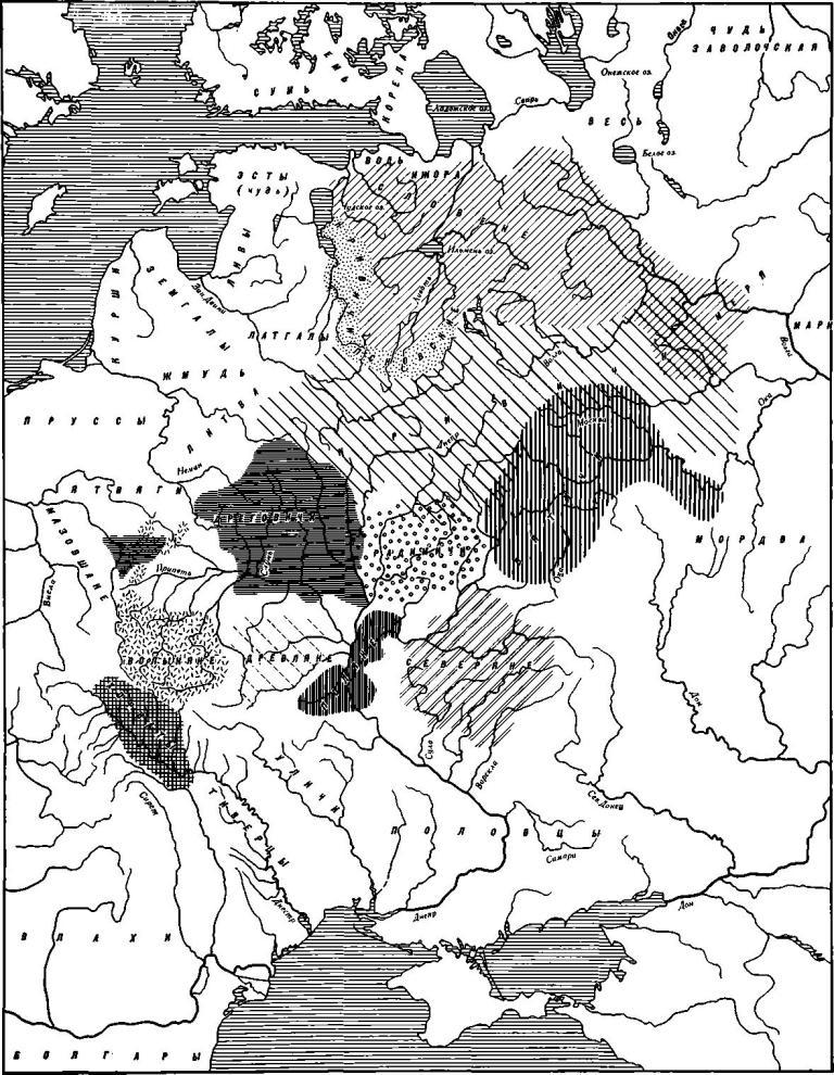 Карта 38. Расселение восточных славян в IX—XII вв.