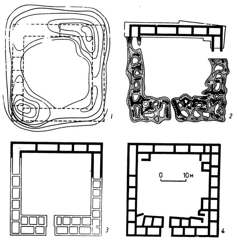 Рис. 9. Схема последовательности геомагнитного картирования и раскопок римской усадьбы в Западном Крыму (по Щеглову):  топографическая съемка; — магнитометрическая съемка и шурфовка; 3 -- электроразведочная съемка: 4 — план раскопанного помещения