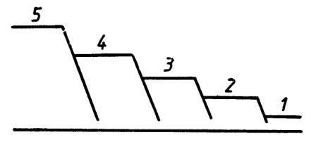 Рис. 2. Примерная схема образования речных террас: / — современная; 2 — вюрмская; 3 — рисская; 4 — миндельская; 5 — гюнцская