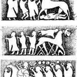 Битва. Изображение на камне эпохи викингов. Остров Готланд