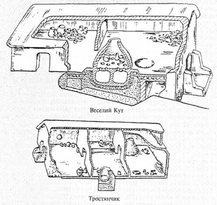 Рис. 5. Реконструкції гончарних майстерень кукутенсько-трипільської спільноти (за О. В. Цвек)