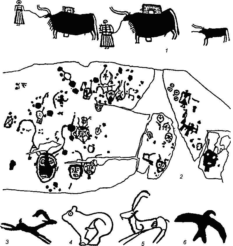Рис. 73. Петроглифы верхнего Енисея 1 - Бижиктиг-Хая, р. Хемчик; 2 - Мугур-Саргол; 3-6 - Саргольское ущелье