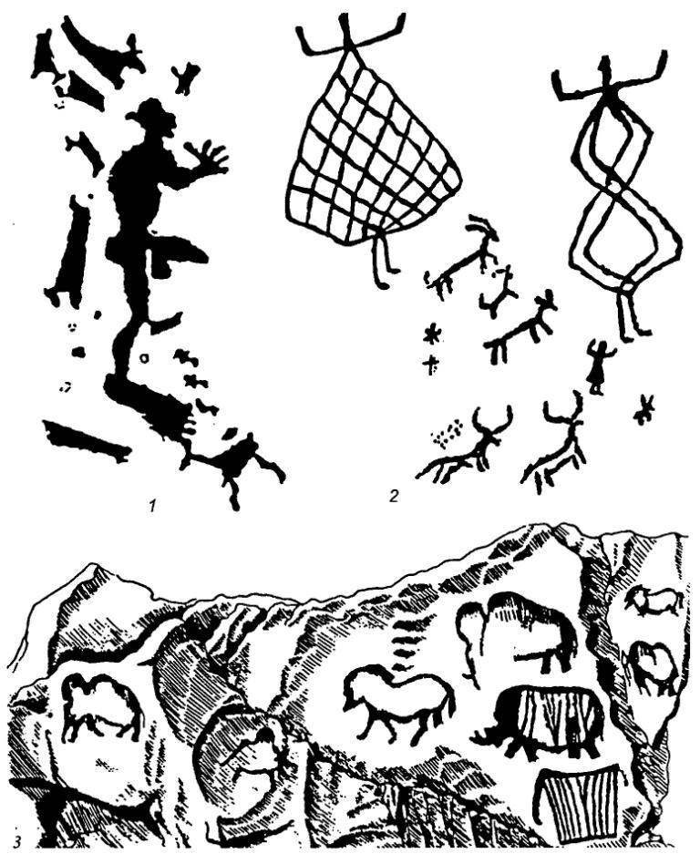 Рис. 74. Наскальные изображения Карелии, Кавказа и Урала 1 - Бесовы Следки, Белое море; 2 - Харитани 1, Дагестан; 3 - Каповая пещера, Урал