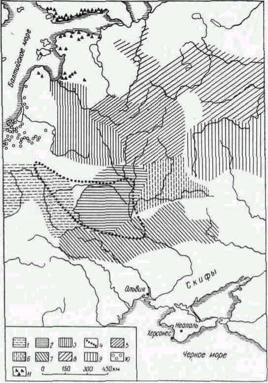 Археологические культуры раннего железного века. 1 — поморская; 2 — милоградская; 3 — штрихованной керамики; 4 — границы зарубинецкой; 5 — днепро-двинская; 6 — юхновская; 7 — лесостепная культура скифского времени; 8 — дьяковская; 9 — область верхневолжских городищ; 10 — курганные могильники западно-балтийских племен; 11 — каменные курганы в Прибалтике и Финляндии.