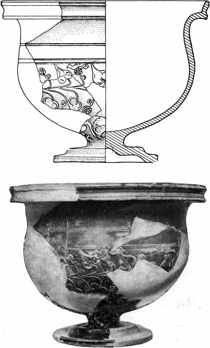 Рис. 55. Краснолаковый рельефный кубок (пропись и реконструкция)