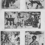 Таблица CX. Росписи склепов II—III вв. н. э.  1, 2 — росписи склепа 1975 г. в Горгиппии, начало III в. н. э.; 3, 4 — детали росписи потолка второй комнаты склепа 1873 г.; 5—деталь росписи склепа Сорака, II в. н. э. Составитель М. М. Кобылина