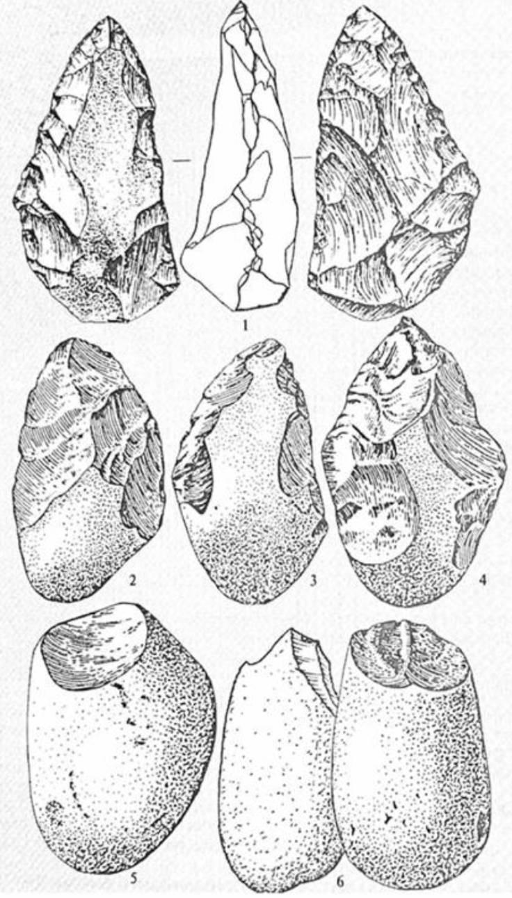 Рис. 7. Галькові знаряддя Homo habilis (5,6) і рубила пітекантропів (1—4)