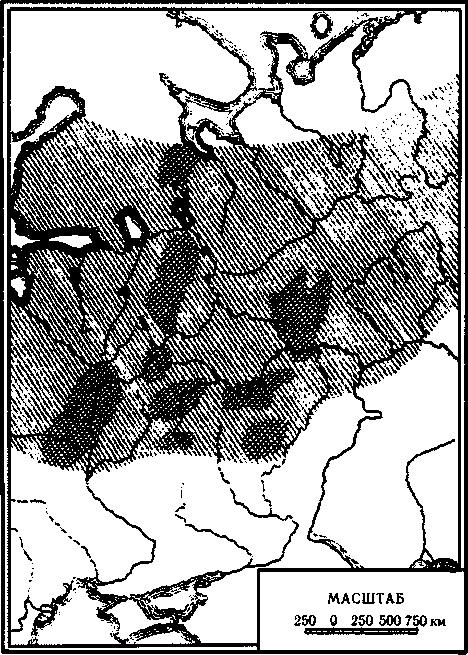 Рис. I. Распространение железных руд (болотных, озерных и дерновых) в Восточной Европе. Наиболее насыщенные рудой области заштрихованы гуще