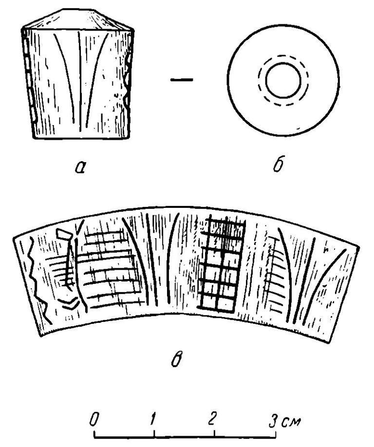 Рис. 50. Изображение на костяной рукоятке из Анюшкара: а — вид спереди; б — вид сверху (пунктиром отмечено нижнее отверстие); в — развернутое изображение на поверхности навершия.