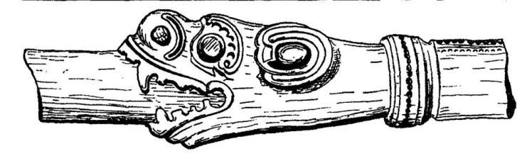 Рис. 116. Румпель Гокстадского корабля. Длина от головы до «ошейника» 19,6 см