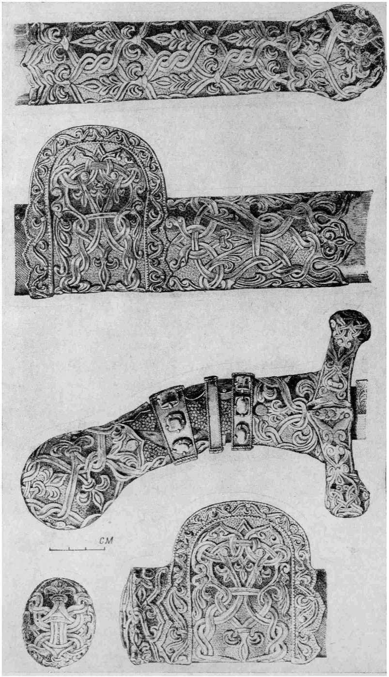 Рис. 4. «Сабля Карла Великого», Прорисовка украшений рукояти и ножен