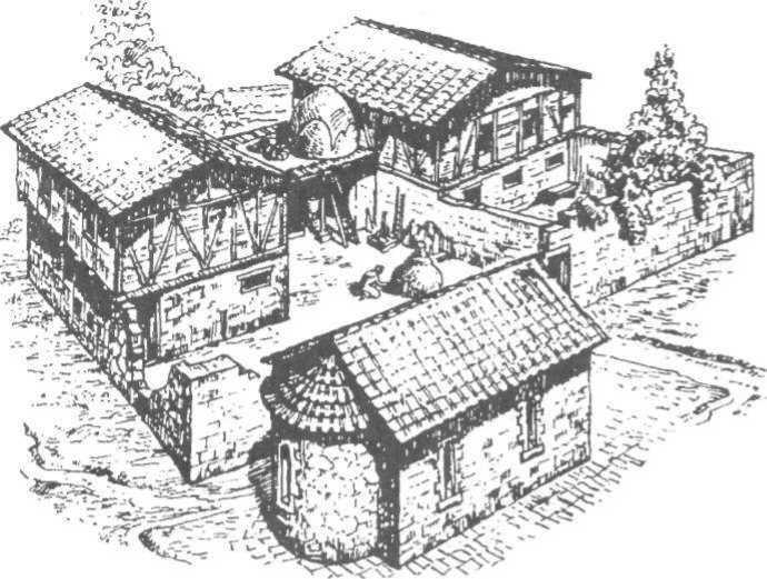 Рис. 30. Садиба середньовічного Херсонеса з капличкою-усипальнею на передньому плані (реконструкція О. Л. Якобсона)