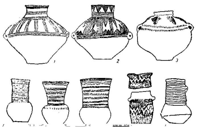 Рис. 83. Шнуровая керамика саксо-тюрингской культуры (1/10).