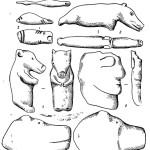 Рис. 47. Каменные фигурки с р. Томи 2 — изображения птиц (Яйский могильник); 3, 4 — фигурки медведя (3 — Томский могильник; 4 — Самусьский могильник); 5 — изображение лица человека; 6 — голова медведя (Самусьская стоянка).
