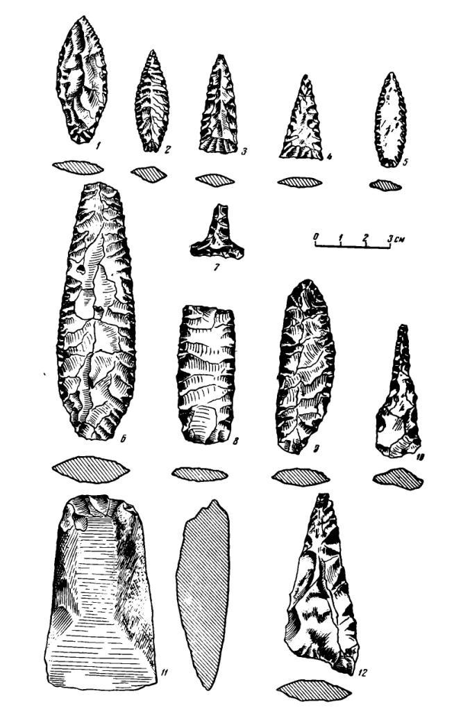 Рис. 2. Каменные орудия с поселения Самусь IV