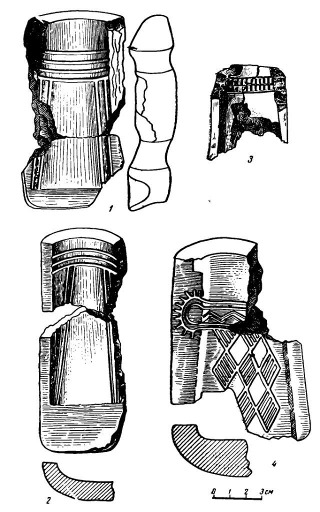 Рис 3. Литейные формы для кельтов с поселения Самусь IV