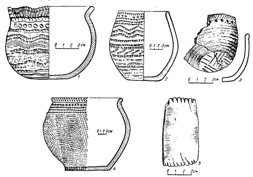 Рис. 6. Глиняные сосуды (1—4) и гребенчатый штамп из глиняного сланца (5) с поселения Самусь IV